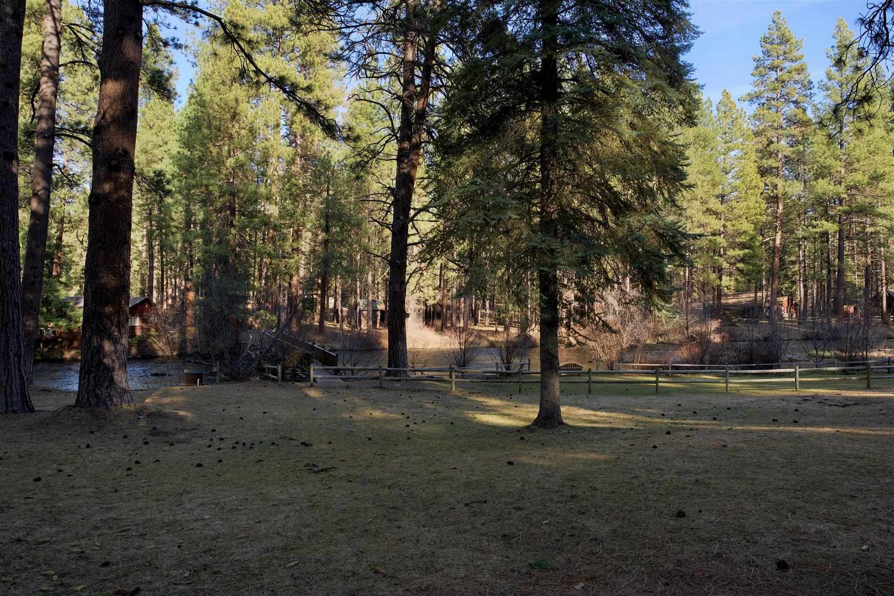 A perfect view of the Metolius River, off the deck of Haberman Cabin, at Cold Springs Resort in Camp Sherman, Oregon