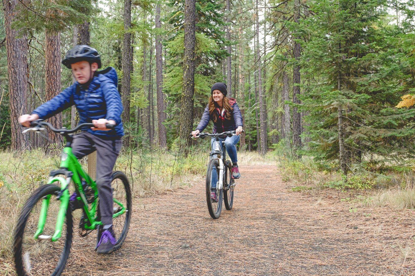 Mom and son hit the best mountain biking trails just outside of Cold Springs Resort in Camp Sherman Oregon